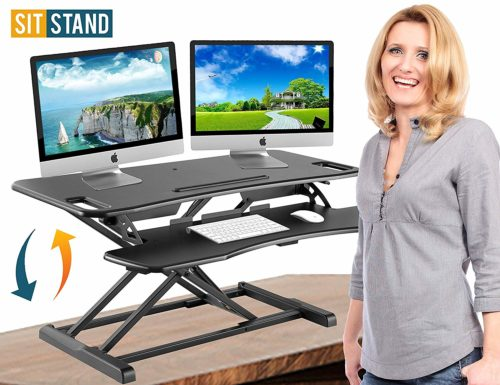 Desk-Adjustable Converter-Workstation Ergonomic, Has a two-tier design
