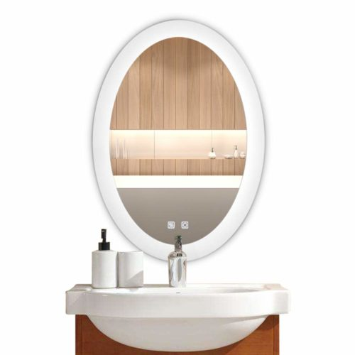 Bonnlo Dimmable Oval LED Lighted Bathroom Mirror