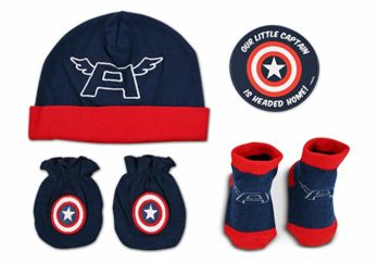 Marvel-Baby-boys-Captain-America, Mitten-and-Socks-Take-Me-Home set