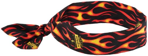 Cooling Bandana, Flames, Evaporative Polymer Crystals For Cooling Relief, Tie For Adjustable Fit, Ergodyne Chill ITS 6700