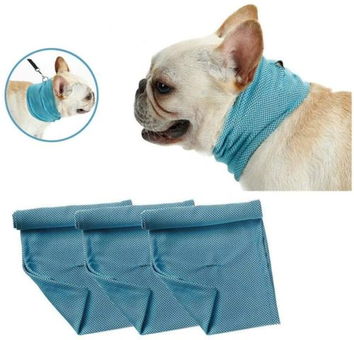 """DREAMSOULE 3 PCS Instant Cooling Pet Bandana-Dog Scarf Summer Cooling Towel Wrap Dog Collar for Bulldog Puppy Cats (S-13.78"""" 4.33"""")"""