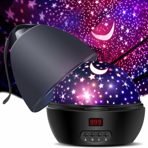 [ Newest Vision ] Star Light Rotating Projector, MOKOQI Night Lighting Star Moon Projection Lamp 4 LED Bulbs 4 Modes with Timer Auto Shut-Off & Hanging Strap for Kids Baby Bedroom Xmas Gift (Black)
